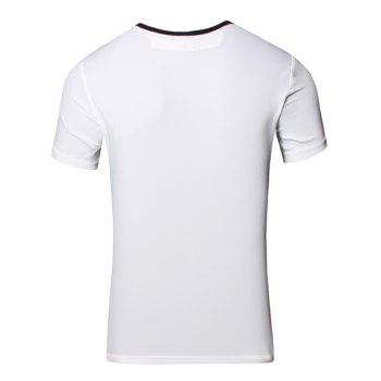Slimming 3D Letters Printed Round Neck Short Sleeve Men's T-Shirt - WHITE XL
