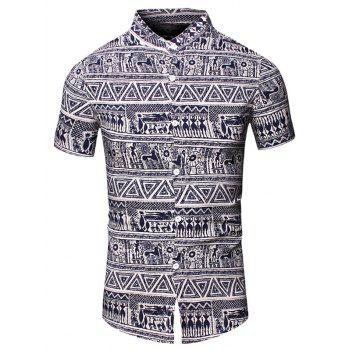 Totem Geometric Printed Turn-Down Collar Short Sleeve Men's Shirt