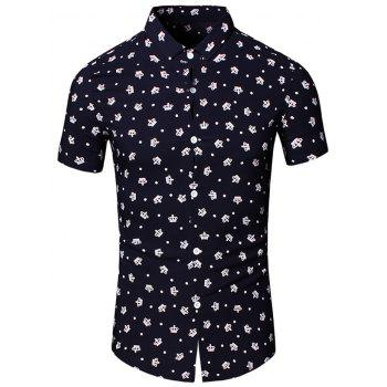 Crown Printed Turn-Down Collar Short Sleeve Men's Shirt