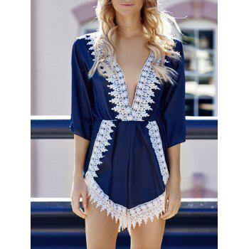3/4 Sleeve Plunging Neck Lace Embellished Women's Romper
