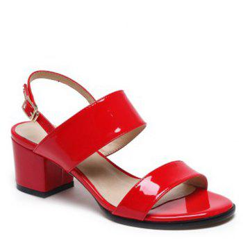 Casual Patent Leather and Chunky Heel Design Women's Sandals