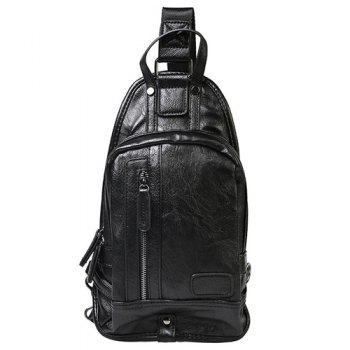 Stylish Zip and Stitching Design Men's Messenger Bag - BLACK BLACK