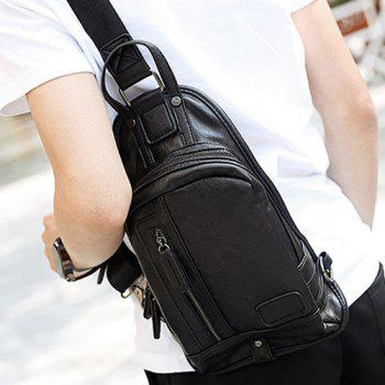 Stylish Zip and Stitching Design Men's Messenger Bag -  BLACK