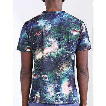 Men's Abstract 3D Sky Print Round Neck Short Sleeves T-Shirt - COLORMIX 2XL