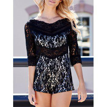 Alluring See-Through V-Neck 3/4 Sleeve Lace Romper For Women