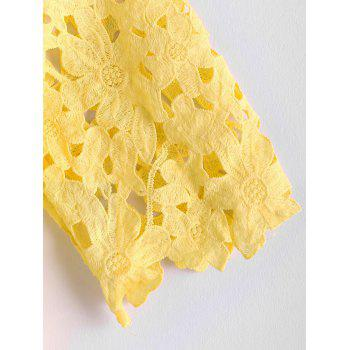 Crochet Flower Hollow Out Splicing Jewel Neck Solid Color Stylish Women's Blouse - YELLOW YELLOW