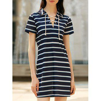 Preppy Style Striped Lace-Up Short Sleeve Dress For Women