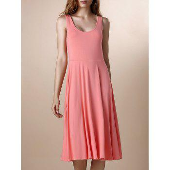Sweet Women's U-Neck Mid-Calf Summer Dress
