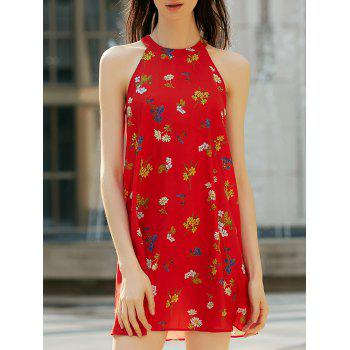 Stylish Women's High Neck Sleeveless Floral Print Cut Out Dress