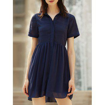 Stylish Turn-Down Collar Short Sleeve Women's Chiffon Shirt Dress