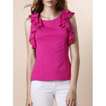 Sweet Women's Round Neck Ruffles Sleeveless Blouse