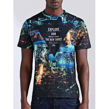 Casual City Printed Round Collar Short Sleeves Men's T-Shirt