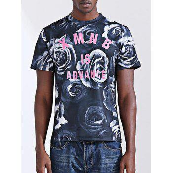 Casual Letter Printed Round Collar Short Sleeves Men's T-Shirt