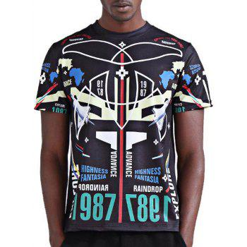 Stylish 3D Symmetrical Geometric and Number Print Round Neck Short Sleeve Men's T-Shirt