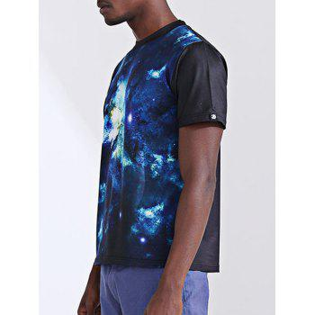 Fashion Printing Round Collar Short Sleeves Men's T-Shirt - BLUE XL