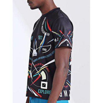 Stylish 3D Spaceship and Number Print Round Neck Short Sleeve Men's T-Shirt - COLORMIX S
