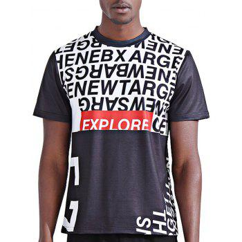Stylish 3D Color Block Letters Print Round Neck Short Sleeve Men's T-Shirt