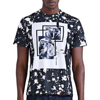Stylish 3D Photos Print Splash-Ink Round Neck Short Sleeve Men's T-Shirt