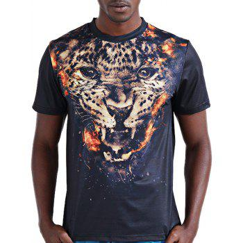 Stylish 3D Leopard Print Round Neck Short Sleeve Men's T-Shirt