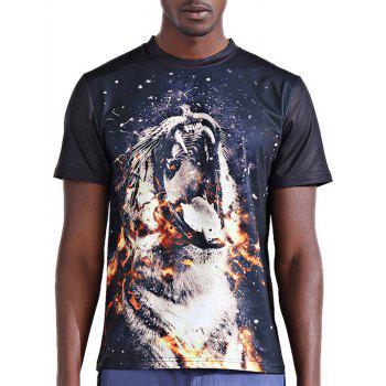 Stylish 3D Fire Leopard Print Round Neck Short Sleeve Men's T-Shirt