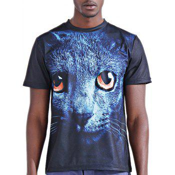 Stylish 3D Panther Print Round Neck Short Sleeve Men's T-Shirt