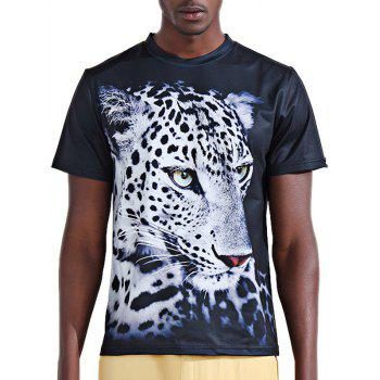 Stylish 3D White Leopard Print Round Neck Short Sleeve Men's T-Shirt
