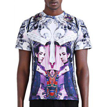Stylish 3D Symmetrical Abstract Figure Print Round Neck Short Sleeve Men's T-Shirt