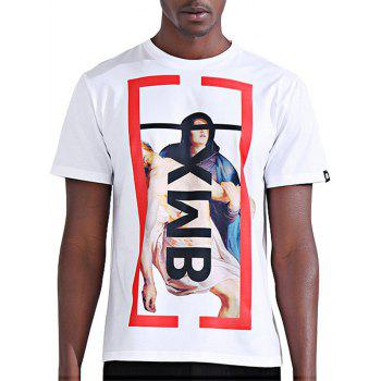 Abstract Figure Print Color Block Novelty T-Shirts
