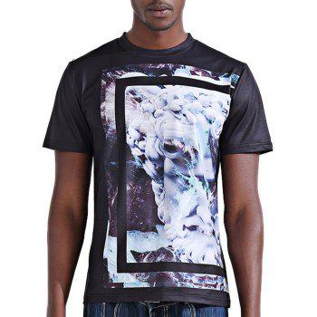 Stylish 3D Abstract Flower Print Round Neck Short Sleeve Men's T-Shirt