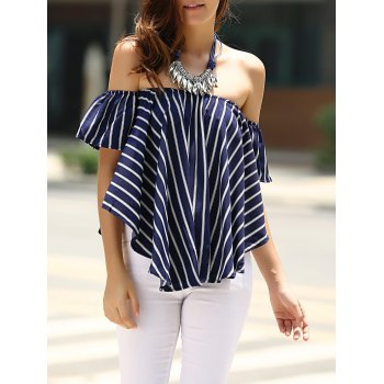 Cute Off-The-Shoulder Striped T-Shirt For Women