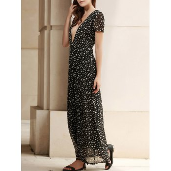 Short Sleeve Plunging Neck Star Dress Women