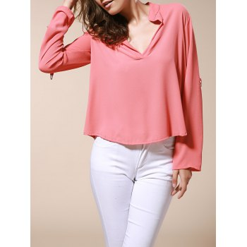 Simple Style Solid Color V-Neck 3/4 Sleeve Chiffon Blouse For Women - BRICK-RED M