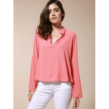 Simple Style Solid Color V-Neck 3/4 Sleeve Chiffon Blouse For Women - BRICK RED BRICK RED