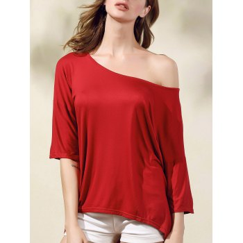 Stylish Sloping Neck 3/4 Sleeve Solid Color T-Shirt For Women