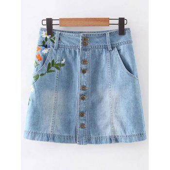 Fashion Pockets Floral Embroidery Denim Skirt For Women