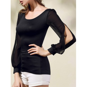 Stylish Scoop Neck Long Sleeve Chiffon Spliced T-Shirt For Women