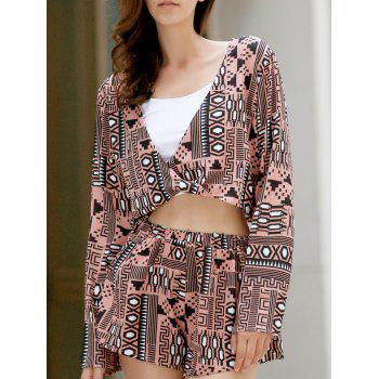 Trendy Long Sleeve Front Twist Top + Printed Shorts Women's Twinset