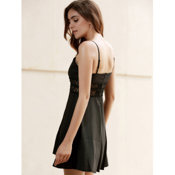 Empire Waisted Openwork Cami Skater Babydoll Dress - BLACK BLACK