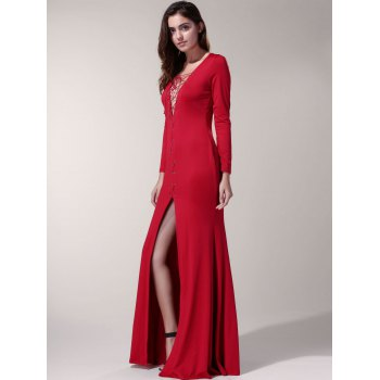 Sexy Long Sleeve Lace-Up High Slit Hollow Out Women's Dress - RED RED
