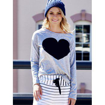 Women's Heart Pattern T-Shirt Long Sleeve Crew Neck Tops - LIGHT GRAY S