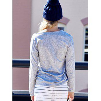 Women's Heart Pattern T-Shirt Long Sleeve Crew Neck Tops - LIGHT GRAY LIGHT GRAY