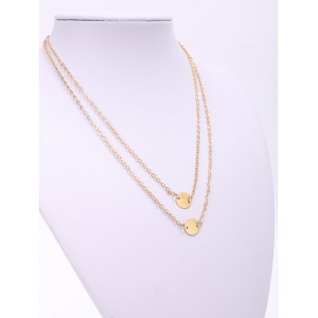 Trendy Solid Color Sequins Embellished Double-deck Women's Necklace - GOLDEN