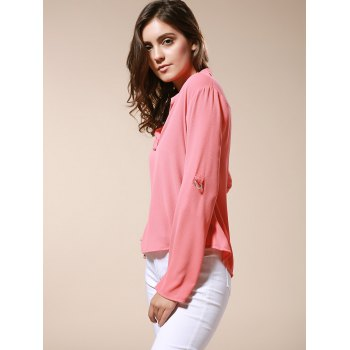 Simple Style Solid Color V-Neck 3/4 Sleeve Chiffon Blouse For Women - BRICK RED S