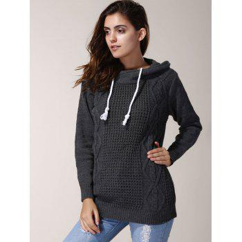 Chic Long Sleeve Hooded Pure Color Women's Sweater - GRAY ONE SIZE(FIT SIZE XS TO M)
