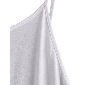 Simple Spaghetti Strap Backless Solid Color Loose-Fitting Women's Dress - WHITE S