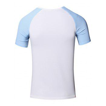 Sporty Round Neck Splicing Short Sleeve T-Shirt For Men - AZURE L