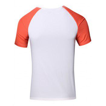 Sporty Round Neck Splicing Short Sleeve T-Shirt For Men - JACINTH XL