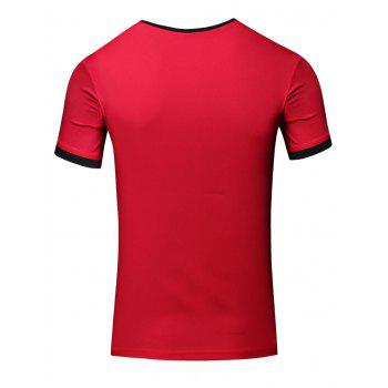 Simple Men's Round Neck Color Block Short Sleeve T-Shirt - RED L