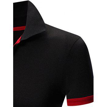 Laconic Turn-down Collar Color Block Short Sleeves Men's Polo T-Shirt - WHITE/BLACK 2XL