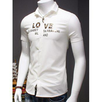 Men's Simple Turn-Down Collar Letter Printed Short Sleeves Shirt - WHITE 2XL